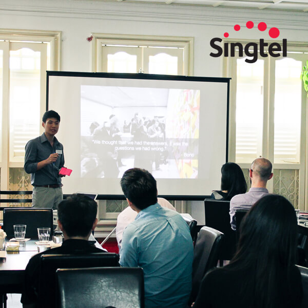 CEO Zwee Wee Zihuan leading a Design Thinking Workshop at SingTel. Digital expert / innovation consultant, Savant Degrees image